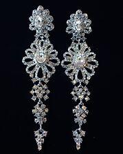 EARRING using Swarovski Crystal Dangle Drop Wedding Bridal Fancy Silver SW9 Long