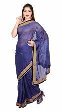 Mujer Indio Azul Marino Brillo Sari Bollywood Boda Fiesta Apparel Vestido 7269