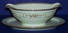 STUNNING NORITAKE FINE CHINA MEDALLION GRAVY BOAT WITH ATTACHED UNDERPLATE
