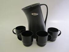 Tupperware Insulated Black Migo Pitcher/Carafe & 4 Black Tupperware Mugs/Cups