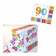 90th Paper Napkins Serviettes 16pcs with Happy Birthday Tablecloth Age Party New