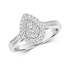 100% Natural Round Diamond Pear Style Engagement Ring SI/F-G - 18K White Gold