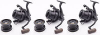 3x Wychwood Riot Big Pit Matt Black 75S Carp Fishing Distance Reel + Spare Spool