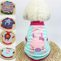 Small Pet Dog Warm Cotton Vest Clothes Coat Puppy Shirt Stripe Winter Costume