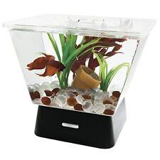 Gold Fish Bowl Aquarium 4 White LED Light Betta Tank Home Office Desktop 1 Gal