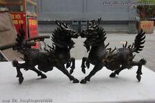 Chinese Pure Bronze Copper Dragon Kylin Unicorn Kirin Chi-Lin Beast Statue Pair