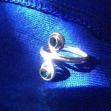 Toe Ring Pinkie Knuckle Thumb Midi S.Silver Zircon Blue Swirl Sz 3.75 Stacking