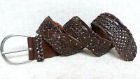 AEROPOSTALE - Women's Belt - WIDE BROWN Leather - BRAIDED WOVEN Design - Size L