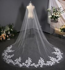 Bridal white 1 tier lace edge cathedral length veil