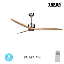 65'' Modern DC Motor Ceiling Fan 3 Natural Wood Blades 6 Speeds Remote Control