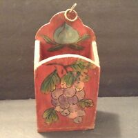 Vintage Wood Hand Painted Mail/ Bill Organized Tole Painted Grapes Leaves Flower