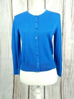 HOBBS Cotton Silk Cropped Cardigan Cobalt Blue Size Small