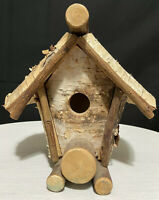 "Birdhouse BIRCH WOOD Rustic Home Decor Cottagecore 8.5"" x 8"" Handcrafted Heavy"
