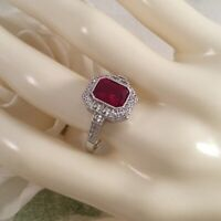 Vintage Jewellery Gold Ring with Ruby White Sapphires Antique Deco Jewelry 8 Q
