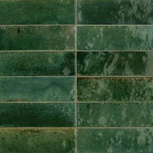 LUME GREEN 6 x 24cm GLOSSY  WALL TILES - BOX OF 40