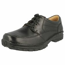 Clarks Mens Sidmouth Mile Black Leather Shoe Wider H Fit  (R22F)