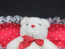SILKY VALENTINES POLKADOT PILLOW WHITE TEDDY BEAR HUGGABLE PLUSH SOFT ANIMAL