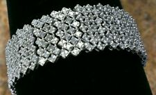 *SALE NEW WIDE STERLING SILVER 2 CARAT GENUINE DIAMOND TENNIS COCKTAIL BRACELET