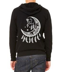 Men's Moon Dream Catcher C9 Black Zipper Hoodie Tribal Native Aztec Symbol Boho