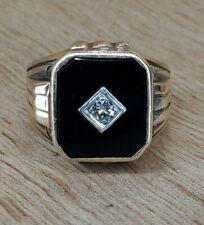 VINTAGE MENS HEAVY 14K YELLOW GOLD ONYX + .08 ROUND DIAMOND RING 8.2gr - sz7-3/4