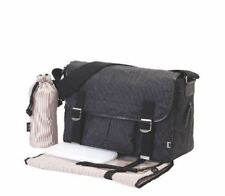 OiOi Man Black Crushed Waxed Canvas Satchel Baby Changing Bag