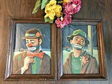 c.1950'S VTG Set of Sad Clown Paint By Number Pictures FRAMED ART-COLLECTIBLE!