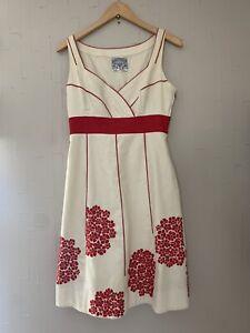 Floreat Anthropologie Coral Way Floral Embroidered A-Line Dress Sz 4 Red V-Neck