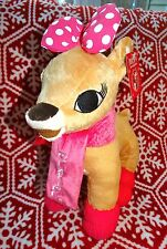 "New Clarice stuffed Reindeer 14"" tall  Pink scarf and matching boots NWT"