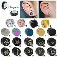 2x Magnetic CZ Fake Ear Plugs Gauge Earring Stud Stretcher No Piercing Jewelry