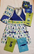 Sea Shell Fish Ocean Kitchen Apron Towel Drying Mat Gift Set 7 Mom Blue Green