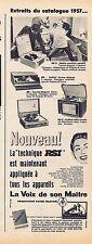 PUBLICITE ADVERTISING 114 1956 LA VOIX DE SON MAITRE électrophone