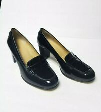 Michael Kors Penny Loafer Black Patent Leather Heels Women's Shoes 11M