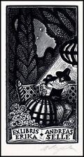 Kortowitsch Vladimir 1989 Exlibris X2 Bookplate Woman 2175