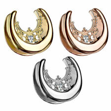 Halbrunder Flesh Tunnel Spreader Ohr Plug Ohrring Piercing Tribal Kristall