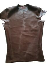Mens Brown Rubber T Shirt by DVote Rubber Size Small F##K To Rear Gay Fetish Int
