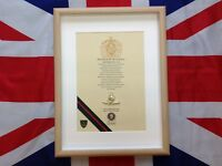 29 Commando Royal Artillery Oath Of Allegiance framed with metal Cap Badge.
