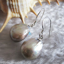 11-12mm Silver Gray Baroque Freshwater Mother of Pearl Dangle Earrings D2S Dyed