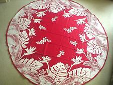 """70"""" Round Bird Of Paradise Water Resist Hawaii Print Fabric Tablecloth RED"""