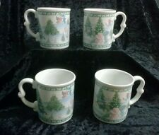 Vintage Precious Moments Signature Holiday Mugs Set 4 1995 Very Good Condition