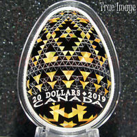 2019–Vegreville Ukrainian Pysanka Писанка–$20 Silver Easter Egg Shaped Coin