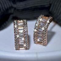 18k yellow gold gf made with SWAROVSKI crystal earrings designer fashion stud