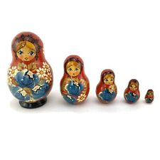 VTG Russian Nesting Matryoshka Hand Painted Wooden Dolls 5 Piece Set - Signed