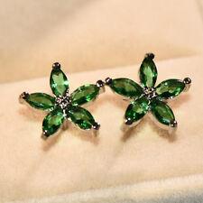 Vintage 925 Silver Five Star Flower Snowflake Blue Sapphire Ear Stud Earrings