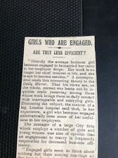 M1-6 ephemera 1911 Article Business And Girls Who Are Engaged