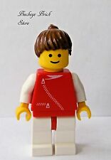Lego Minifig Female RED TORSO w/Zipper - Classic Town - Girl Brown Ponytail Hair