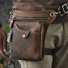 Mens Genuine Leather Motorcycle Rider Waist Hip Bum Fanny Pack Drop Leg Bag