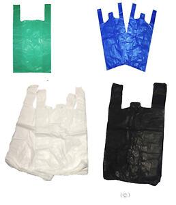 100 Vest Plastic Carrier Bags White Blue Black Green Small Medium Large XXL