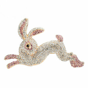 Pretty Pink Rabbit Black Bunny Animal Gold-tone Brooch Pin Crystal Rhinestone