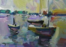 JOSE TRUJILLO OIL PAINTING IMPRESSIONISM SAILBOATS BOATS CONTEMPORARY 12X16 ART