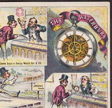 1800's Waterbury Watch Jerome Park Horse Racing Jewelry Comic Advertising Card